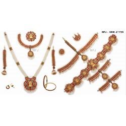 Ruby Stones Lakshmi & Peacock Design With Pearls Drops Mat Finish Vamki Buy Online