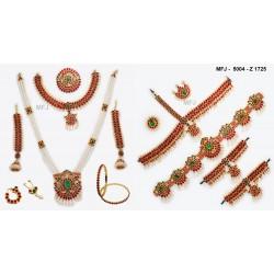 Ruby & Emerald Stones Lakshmi, Peacock & Flowers Design With Pearl Drop Mat Finish Vamki Buy Online