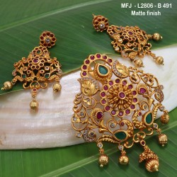 CZ, Ruby & Emerald Stones Peacock & Flowers Design With Pearls Drops Mat Finish Earrings Buy Online