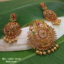 CZ, Ruby & Emerald Stones Flowers & Thilakam Design With Pearls Drops Mat Finish Earrings Buy Online