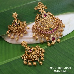 Ruby & Emerald Stones Flowers & Thilakam Design With Pearls Drops Mat Finish Earrings Buy Online