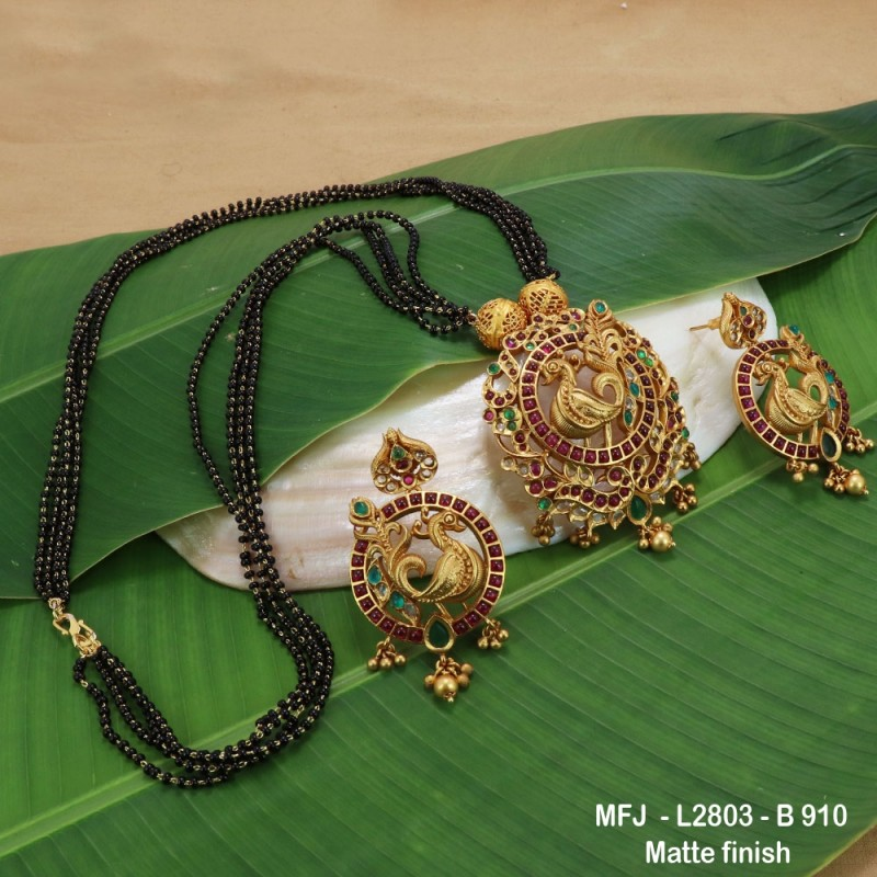 CZ, Ruby & Emerald Stones Peacock Design With Pearls Drops Mat Finish Jumki Buy Online