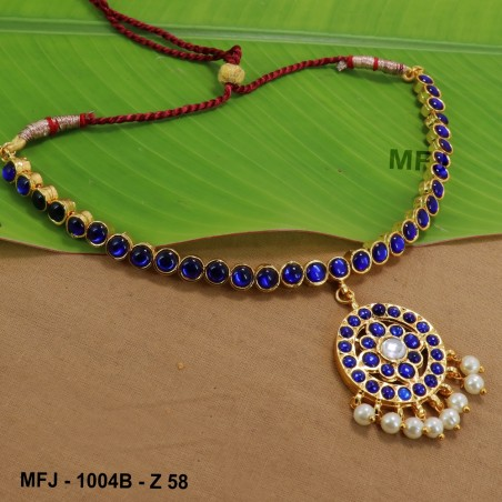 CZ Stones Peacock, Flowers & Leaves Design Gold Plated Finish Necklace Buy Online
