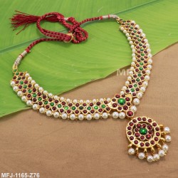 CZ & Ruby Stones Thilakam Design With Pearl Drop Gold Plated Finish Saree Pin Buy Online