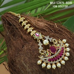 CZ, Ruby & Emerald Stones Leaves Design Gold Plated Finish Saree Pin Buy Online