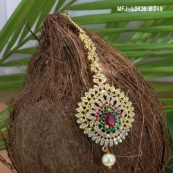 CZ & Ruby Stones Leaves Design Gold Plated Finish Saree Pin Buy Online