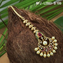 CZ, Ruby & Emerald Stones Flowers & Leaves Design Gold Plated Finish Saree Pin Buy Online