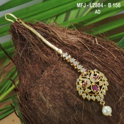 CZ & Ruby Stones Flowers & Leaves Design Gold Plated Finish Saree Pin Buy Online