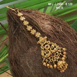CZ, Ruby & Emerald Stones Flowers Design With Pearls Drops Gold Plated Finish Saree Pin Buy Online