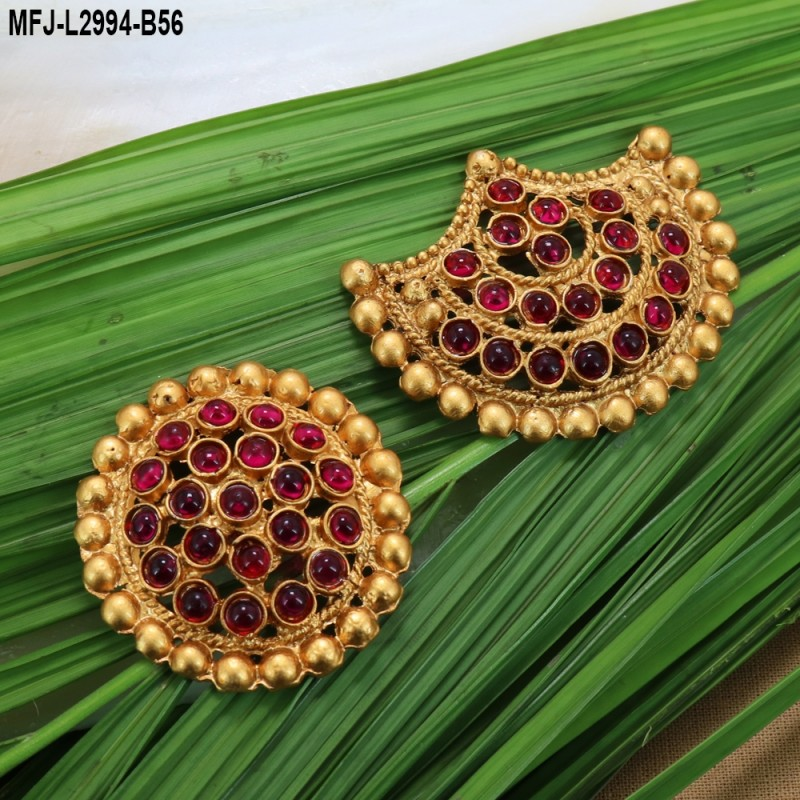 1 Gram Gold Dipped CZ, Ruby & Emerald Stones With Pearls Flowers Design Vamki Buy Online