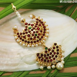 Kempu & Multicolour Stones With Pearls 3 Step Flowers & Peacock Design Earrings For Bharatanatyam Dance And Temple Buy Online