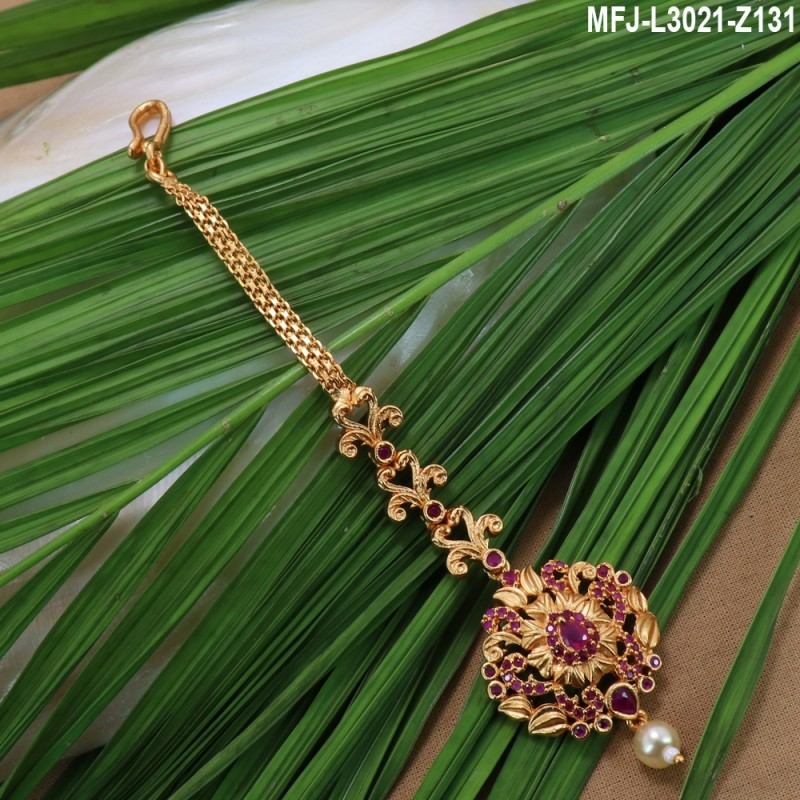Ruby & Emerald Stones With Pearls Flowers, Mango & Elephant Design Mat Finish Combo Bridal Set Buy Online