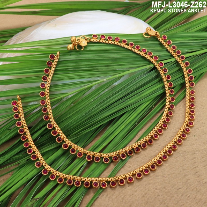 Oval Shaped Kempu Stones Single Line Design Gold Plated Finish Necklace Set Buy Online