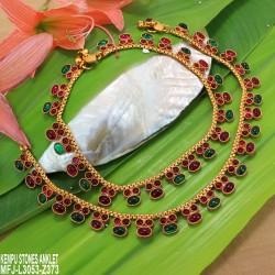 CZ Stones Flowers, Jumkis & Pearls Hanging Bahubali Design Antique Finish 3 Lines Mattel Set Buy Online
