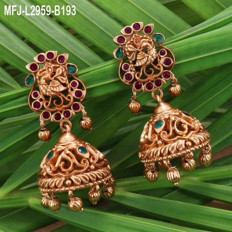 CZ, Ruby & Emerald Stones Flowers, Jumkis & Pearls Hanging Bahubali Design Antique Finish 3 Lines Mattel Set Buy Online