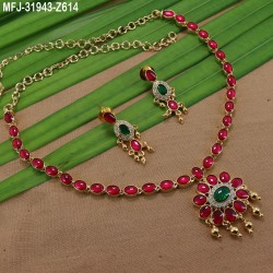 Ruby Stones Leaves Design With Pearls Drops Mat Finish Hair Clip Buy Online