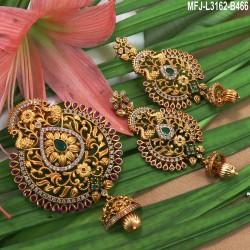 CZ, Ruby & Emerald Stones Flowers, Peacock & Leaves Design Mat Finish Hair Clip Buy Online