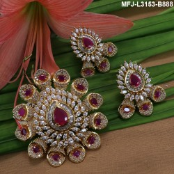 Ruby & Emerald Stones Lakshmi Coins Design With Pearls Mat Finish Haram Set Buy Online