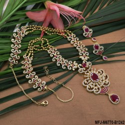 CZ, Ruby & Emerald Stones Flowers & Peacock Design With Balls Drops Mat Finish Mini Haram Set Buy Online