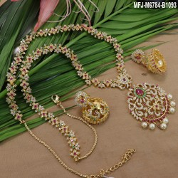 CZ & Ruby Stones Kerala Design Mat Finish Necklace Set Buy Online