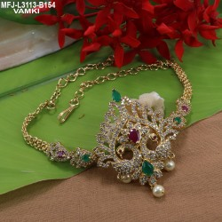 Kempu & Multicolour Stones With Pearls Drops Flowers Design Necklace For Bharatanatyam Dance And Temple Buy Online