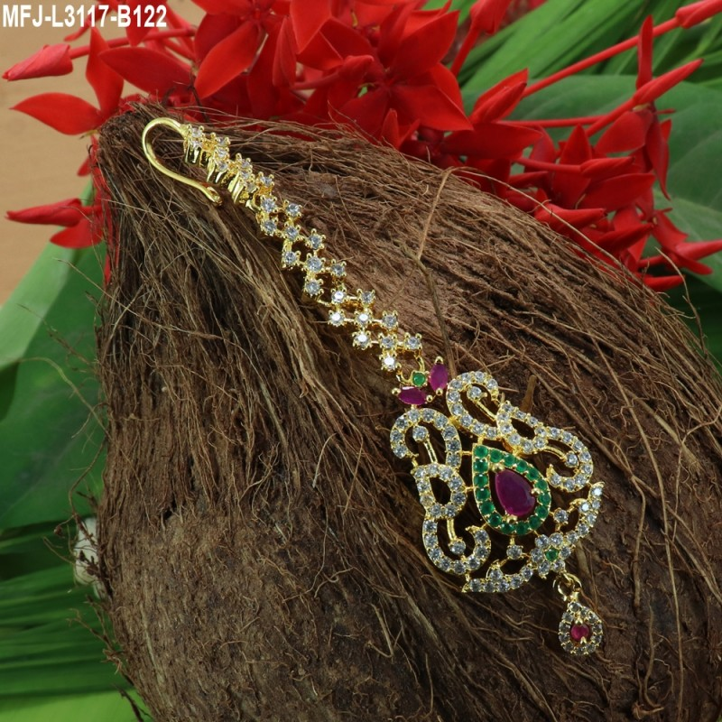 1a5ed859768 Kempu   Multicolour Stones With Pearls Drops Flowers   Peacock Design  Necklace For Bharatanatyam Dance And