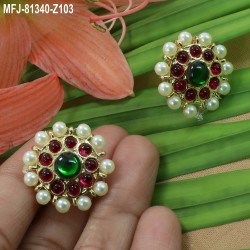 CZ, Ruby & Emerald Stones Thilakam, Peacock & Leaves Design With Pearls Drops Gold Plated Finish Choker Necklace Set Buy Online