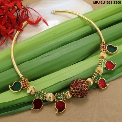 CZ, Ruby & Emerald Stones Flowers & Leaves Design With Pearl Drop Mat Finish Mini Haram Set Buy Online