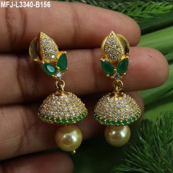 Ruby & Emerald Stones Lakshmi, Peacock & Flowers Design With Pearl Drop Mat Finish Vamki Buy Online