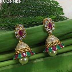 Kempu & Multicolour Stones With Pearls Flowers, Moon & Jumki Design Earrings For Bharatanatyam Dance And Temple Buy Online