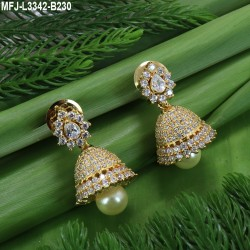 CZ & Ruby Stones Flowers, Peacock & Leaves Design With Pearl Drop Mat Finish Mini Haram Set Buy Online