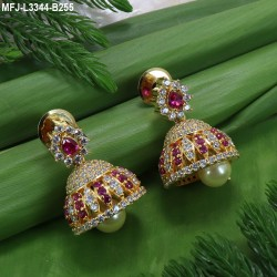 Ruby Stones Lakshmi, Flowers & Peacock Design With Pearls Drops Mat Finish Haram Set Buy Online