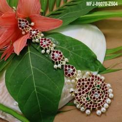 1 Gram Gold Dip Ruby & Emerald Stones Lakshmi, Pearls & Balls Design Choker Necklace Set Buy Online