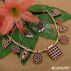 1 Gram Gold Dip Ruby & Emerald Stones Flowers Design Black Rubber Bracelet Buy Online