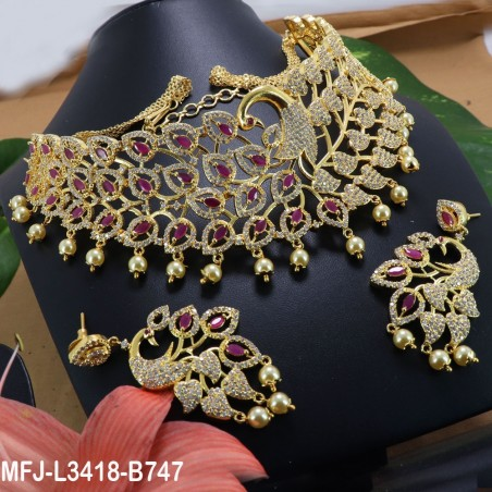 CZ, Ruby & Emerald Stones Peacock Design With Balls Drops Mat Finish Earrings Buy Online