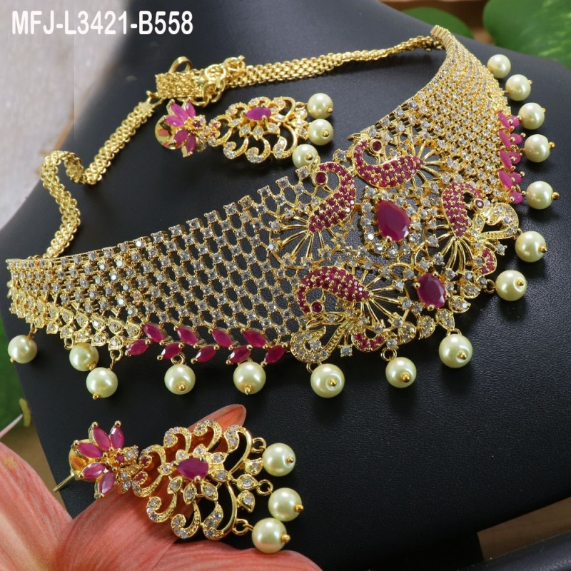 CZ, Ruby & Emerald Stones With Pearls Drops Peacock Design Gold Plated Finish Hip Belt Buy Online