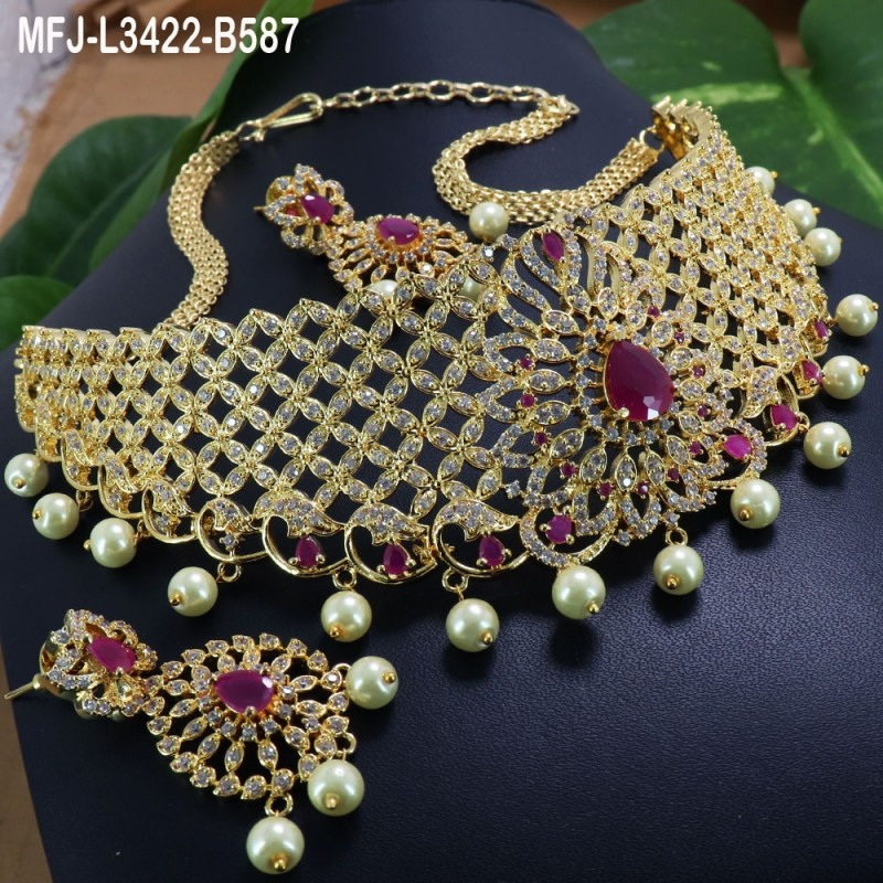 CZ, Ruby & Emerald Stones Butterfly & Drop Design Gold Plated Finish Jumki Buy Online