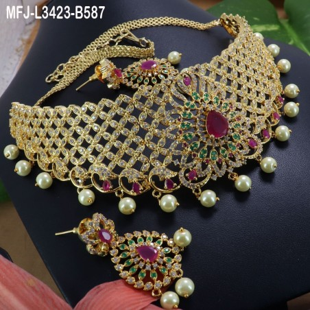 Ruby & Emerald Stones Peacock Design With Pearls Drops Gold Plated Finish Jumki Buy Online