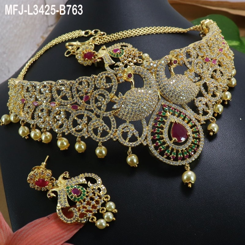Emerald Stones Peacock Design With Pearls Drops Gold Plated Finish Jumki Buy Online