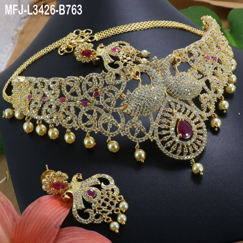 Ruby Stones Peacock Design With Pearls Drops Gold Plated Finish Jumki Buy Online