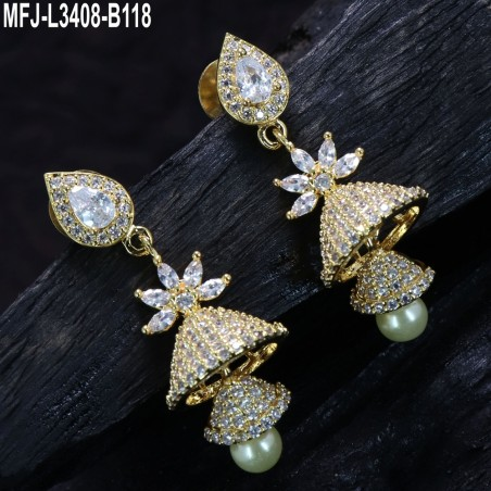 Ruby & Emerald Stones Leaves Design With Pearls Drops Gold Plated Finish Jumki Buy Online