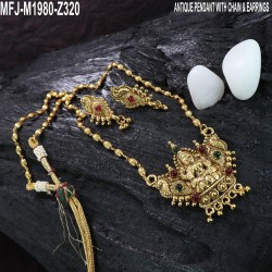 CZ, Ruby & Emerald Stones With Balls Drops Peacock, Flowers & Leaves Design Mat Finish Necklace Set Buy Online