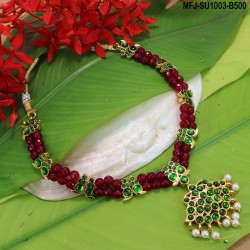 High Quality Kempu & CZ Stones With Pearls Designer Mattel For Bharatanatyam Dance And Temple Buy Online