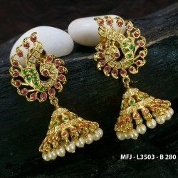 High Quality Kempu & CZ Stones Mango & Flowers Design With Pearls Drops Necklace For Bharatanatyam Dance And Temple Buy Online