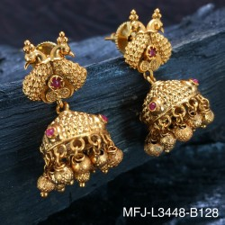 CZ, Ruby & Emerald Stones Flowers Design With Pearls Drops Gold Plated Finish Earrings Buy Online