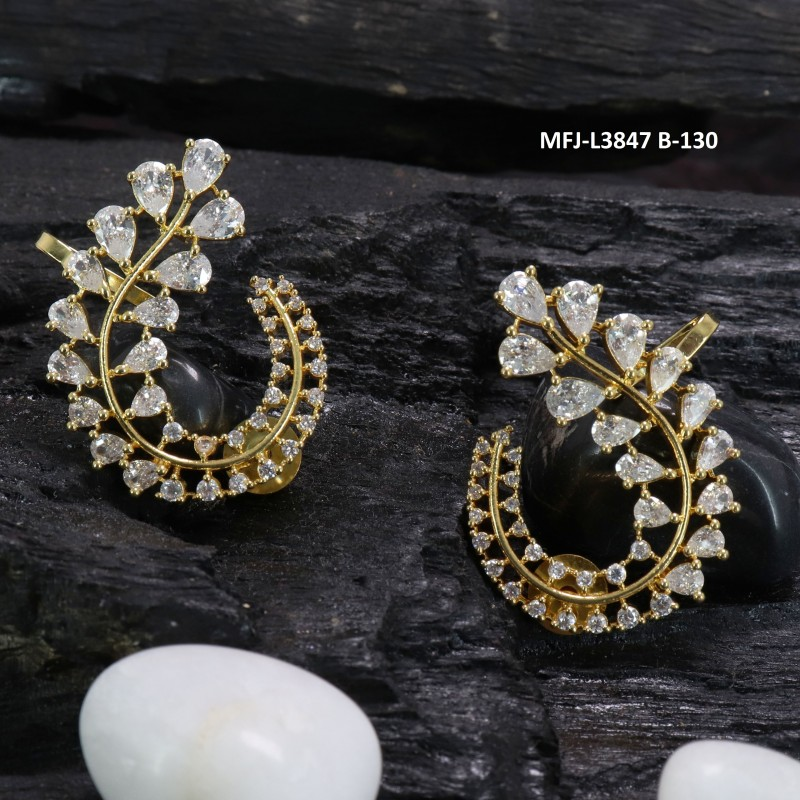 9e5749cea CZ Stones Peacock Design With Pearls Drops Gold Plated Finish Earrings Buy  Online