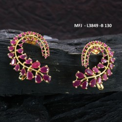 CZ, Ruby & Emerald Stones Peacock Design Gold Plated Finish Earrings Buy Online