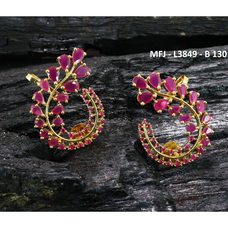 Red Colour Stones Lakshmi & Peacock Design Gold Plated Finish Hair Clip Buy Online