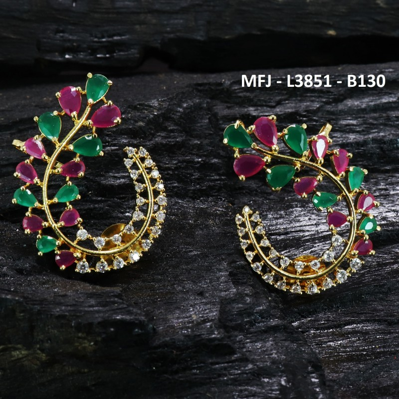 Red & Green Colour Stones Lakshmi & Peacock Design Gold Plated Finish Hair Clip Buy Online