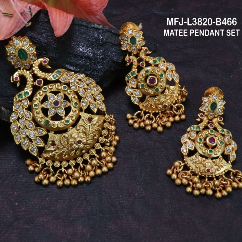 White, Red & Green Colour Stones Lakshmi, Flowers & Mango Design With Pearls Drops Gold Plated Finish Necklace Set Buy Online
